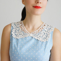 COLLAR // Sulla // Handmade Ivory Cotton Lace Collar Necklace Applique Blouse Accessories Peter Pan Collar Venise Lace Gold