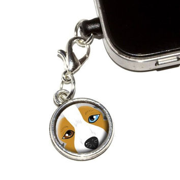 Graphics and More Australian Shepherd Face - Aussie Dog Pet Anti-Dust Plug Universal Earphone Headset Jack Charm for Mobile Phones - 1 Pack - Non-Retail Packaging - Antiqued Silver