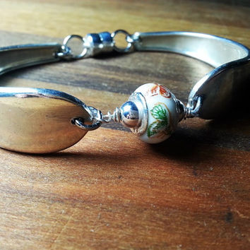 Spoon Bracelet Pandora style butterfly bead, Silverware jewelry, Beloved 1940, vintage, sterling silver, silverplate, free gift box