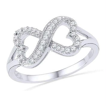 10kt White Gold Women's Round Diamond Infinity Heart Ring 1/6 Cttw - FREE Shipping (US/CAN)