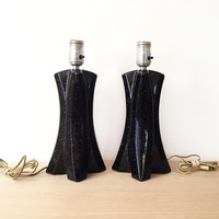 Pair of Mid Century Lamps / Vintage Table Lamp Bases / Black with Gold Flecks / Both in Working Order / Chic X Shape Deisgn / Modern Glamour