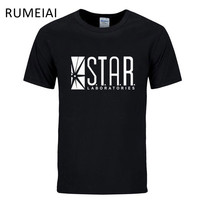 RUMEIAI 2017 Flash Print Cotton T shirt Fashion STAR Gotham City Men Short Sleeve T-shirt Superhero TV Series Tee,Brand Clothing