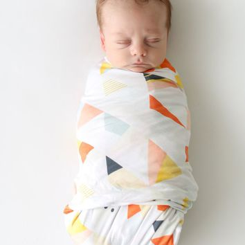 Retro Triangle Swaddle & Hat Set by Posh Peanut