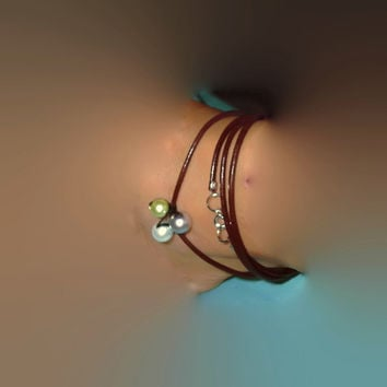 34 Inch Multi Leather Wrap Anklet Bracelet or Necklace Multi Use with Faux Pearls Boho Gypsy Beach Summer Jewelry