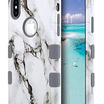 iPhone X Case, Marble iPhone X Case Cute, ULAK Marble Heavy Duty Protection Hybrid 3 Layers High Soft Silicone Hard PC Protective Anti-Slip Cover Slim Support Wireless Charging,Marble Pattern