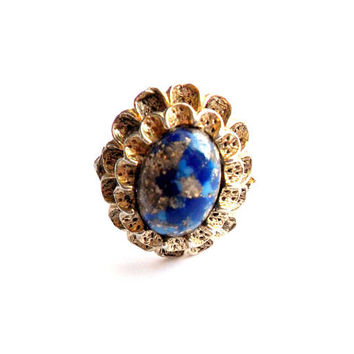 Vintage Blue Matrix Ring Adjustable Acrylic Cabochon Gold White Faux Lapis Ruffled Filigree Gold Tone