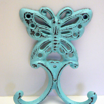 Butterfly Wall Hook Cast Iron Cottage Chic Beachy Blue Double Splay Wall Hooks Shabby Chic for Jewelry Hat Coat Keys Scarf Leash Hook
