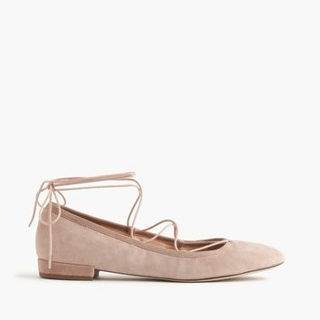 Suede lace-up flats : Women flats | J.Crew