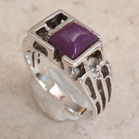Sugilite Ring Sterling Silver Brutalist Hi Dome Square Size 9 1/4 Artisan Made CMFG