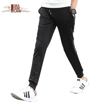 SeaSunLand Brand NEW2017 sweatpants Men's gasp workout bodybuilding clothing casual sweatpants joggers pants skinny trousers hot