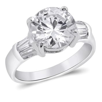 3.5 Carat Cubic Zirconia Engagement with Tapered Baguettes Sterling Silver Ring