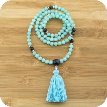 Amazonite Mala with Blue Tigers Eye