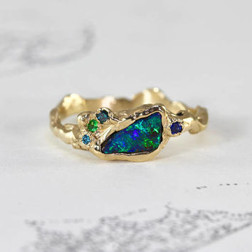Boulder Opal Stacking Ring, 14k with Tsavorite, Blue Diamond & Sapphire Accents, Alternative Engagement Boho Organic Twig Talisman Jewelry