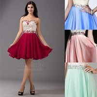 Burgundy Chiffon Formal Short Beaded Party Prom Gown Cocktail Homecoming Dresses