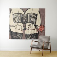 Owned booty, sexy in lingerie, kinky adult art tapestry