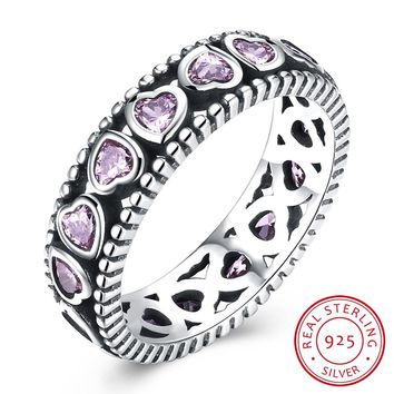 Sterling Silver Retro Boho Pink Heart Crystal Ring