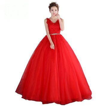 Red Tulle Flower Long Emerald Red Gown Lace Wedding Dresses for Wedding Party Costumes Night Party Dresses