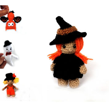 crochet witch, Halloween witch, amigurumi witch, miniature witch, tiny witch doll, cute witch, little witch, Halloween decoration, autumn