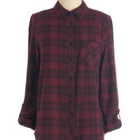 ModCloth 90s Mid-length 3 Button Down By the Light of the Fireside Top in Burgundy