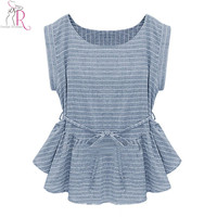 2016 Spring New Women Fashion Light Blue Short Sleeve Stripes Peplum Ruffle Hem Loose Casual Blouse Top
