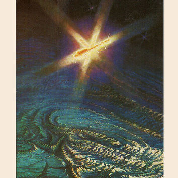 In Orbit Expectations (Artist A. Sokolov) Vintage Postcard - Printed in the USSR, «The Fine Arts», Moscow, 1980