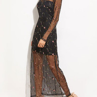 Black Embroidered Mesh Long Sleeve Maxi Dress