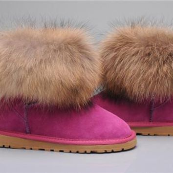 UGG Fox Fur Mini Boots 5854 Rose