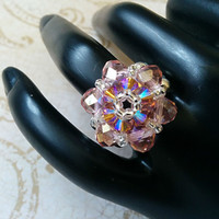 The Lily- Vintage Rose Swarovski Crystal and Smoked Topaz Swarovski Crystal Flower Stretch Ring