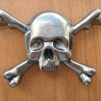 Large skull crossbones concho screw back for leather works or jewelry projects