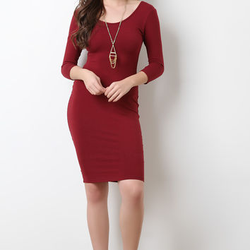 Simple Stretchy Knit Scooped Midi Dress