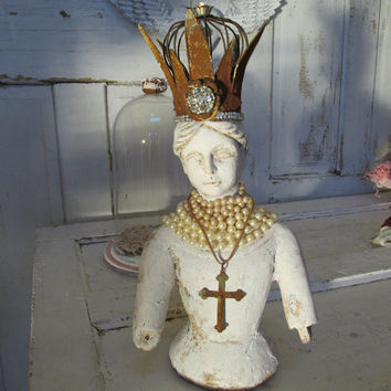 French Santos doll statue chalky white Flemish bust embellished with handmade crown and pearls home decor anita spero