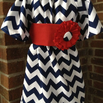 Peasant Dress - Girl, Toddler Girl, Baby Girl - Available in size 12M thru 4T - Riley Blake Navy Chevron