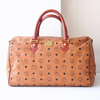 MCM handbag Visetos Cognac Monogram Brown Boston Large Tote Handbag