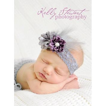 grey Feather Headband, eggplant headband, girl elastic headband, plum wedding flower girl, grey headband, baby headband, girl birthday gift