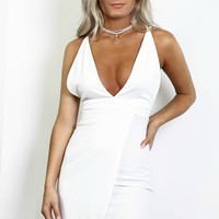 You Won't Forget Ivory Crepe Back Satin Strappy Dress