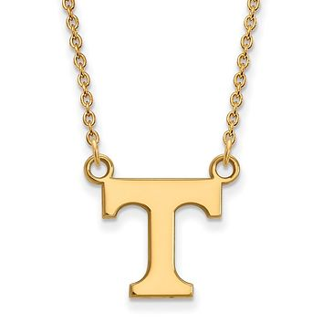 NCAA 14k Gold Plated Silver U of Tennessee Small 'T' Pendant Necklace