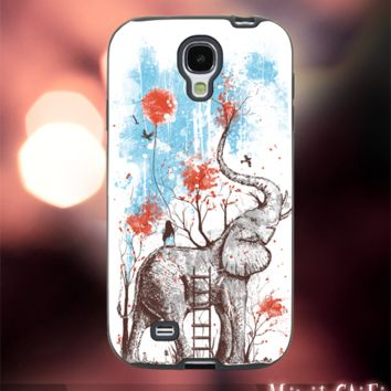 MC42Z,17,Elephant,animal,girl,Cartoon,colorful-Accessories case cellphone- Design for Samsung Galaxy S5 - Black case - Material Soft Rubber