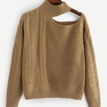 Jbellan Solid Cut Out Cable Knit Jumper