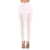 Lace Up Front White Twilled Skinny Pants