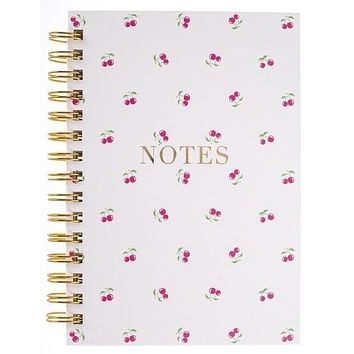 Cherries Hard Bound Journal in White