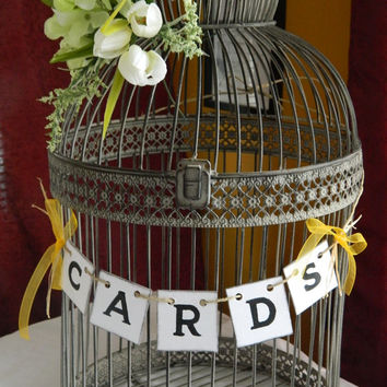 Wedding Cards Box Suitcase Banner-Wedding Cards Birdcage Sign/Cards Banner/ Rustic Cards Suitcase Sign- You Pick The Colors