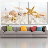 Seashells Coast Photo Canvas Print  - High Quality Ocean Seascape Framed Wall Art -  Hand Made in Europe for Home and Office_LC029