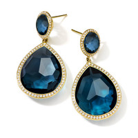 Ippolita 18K Gold Rock Candy Teardrop Earrings in London Blue Topaz with Diamonds