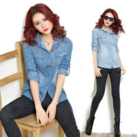 Women Casual Korean Style Cotton Boyfriend Lapel Long Sleeve Button Down Denim Jean Shirt  Blouse Top = 1929996292