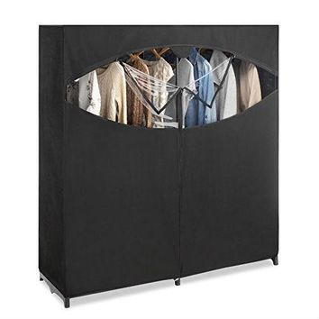 Metal Frame Black Fabric Wardrobe Clothes Closet Garment Rack