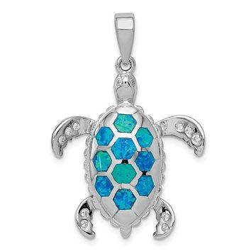 Sterling Silver Created Blue Opal Inlay & CZ Sea Turtle Tortoise Pendant