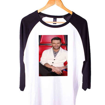 adam lavine smile Short Sleeve Raglan - White Red - White Blue - White Black XS, S, M, L, XL, AND 2XL*AD*