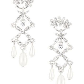 Lauren Ralph Lauren Glass Pearl and Rhinestone Chandelier Earrings