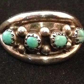 Zuni Native American Ring, Silver and Turquoise, made on SouthWestern Indian Reservation