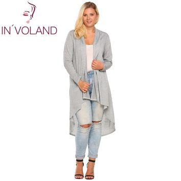 IN'VOLAND Women's Cardigan Jacket Oversized Autumn Casual Long Sleeve Open Front Draped Irregular Long Coat Sweater Plus Size